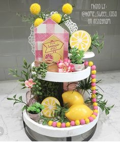 Items similar to Reversible Rustic tiered tray decor farmhouse style house duo with twine pink lemonade and of July pink / yellow / red white & blue on Etsy Dollar Tree Christmas, Spring Home Decor, Spring Decorations, Tiered Stand, Beaded Garland, Pink Lemonade, Home Living, Tray Decor, Pink Yellow