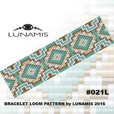 Bracelet loom patterns / square stitch made with size 11/0 Miyuki round beads…