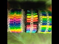Rainbow Loom CANDY STREAMER Bracelet (Part 2). Designed and loomed by Sea wolfe. Click photo for YouTube tutorial.