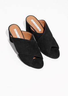 6786db37d6a1 from Trouva ·   Other Stories image 2 of Suede Cross Strap Mule in Black