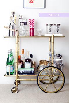 Retro vintage modern brass drinks trolley bar cart