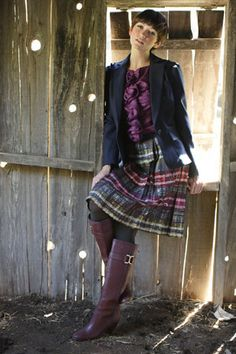 Trina Turk: Textured Silk Finch Blouse + Timber Frame Plaid Tidepool Skirt + Azalea Blazer