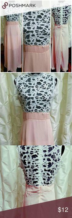 """Lace and chiffon pink long dress White lace and pale pink chiffon dress. Fits sizes 12-14. Armpit to armpit 20', waist 32"""", length 58"""" Dresses"""