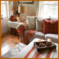 "meg's oldfarmhouse est 2014 - - rainy autumn morning in New England 🍂"" Fall Living Room, Living Room Orange, Cottage Living Rooms, Living Room Colors, Living Room Decor, Fall Home Decor, Autumn Home, Interior Design Living Room, Living Room Designs"