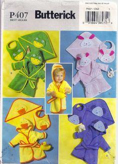 Infants Hooded Robe Towel has Corner Hood Bib by PatternPriority, $5.95