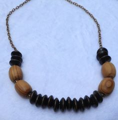 RTS Mixed Wood Bead Necklace  Long Wood Bead by ByKeeksWithLove