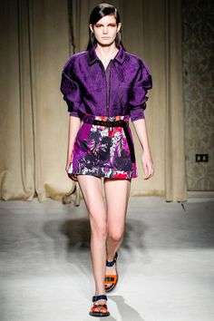 Aquilano.Rimondi Spring 2014 Ready-to-Wear Collection Slideshow on Style.com tropical floral print on duchesse satin