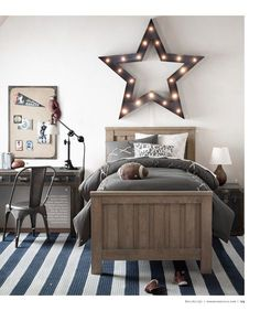 RH baby&child's Vintage Illuminated Oversized Framed Star Weathered Metal:Bands of steel & illuminated by a series of lights & come together on a grand scale as a reminder that their star shines bright. Teen Boy Rooms, Big Boy Bedrooms, Boys Bedroom Decor, Bedroom Ideas, Boys Star Bedroom, Preteen Boys Room, Teenage Room, Bedroom Designs, My New Room
