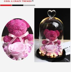 Rose Dome, Glass Flask, Teddy Bear Gifts, Forever Rose, Stand By You, By Your Side, Teddybear, Life Partners, Glass Domes