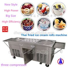 Coyoro ice cream rolls at east village craft ideas pinterest thailand double 2 flat pan roll fry fried ice cream machine three compressors high capacity ccuart Choice Image