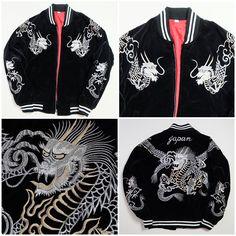 Japanese Vintage Velveteen Dragon Ryu Tattoo Art Design MA-1 Flight Bomber Sukajan Jacket - Japan Lover Me Store