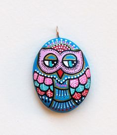 Hand Painted Stone OWL Pendant by ISassiDellAdriatico on Etsy, €20.00