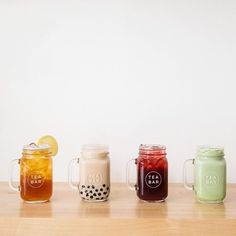"Tea Bar Division. Portland, OR  -- ""Springtime favorites. Hong Kong Style Boba, Sweet Nilgiri, Sparkling Hibiscus and Vanilla Matcha. Comment your favorite Tea Bar drink below : @hey.candace"""