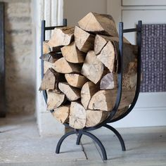Trips to the log shed will be few and far between with this wonderful high sided log holder. Crafted in Wrought Iron Firewood Holder, Firewood Storage, Firewood Basket, Log Shed, Range Buche, Fireplace Logs, Fireplace Ideas, Wood Holder For Fireplace, Log Store