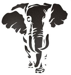 I feel that the stencil I saying that the elephant is tired and thirsty and he is trying to find water, think they used 3 layers. like this stencil because how big the elephant is. Elephant Stencil, Animal Stencil, Stencil Art, Stenciling, Elephant Pattern, Drawing Stencils, Tribal Elephant, Bird Stencil, Damask Stencil