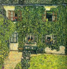 Gustav Klimt, 1914 Casa forestal en Weissenbach, Attersee oil on canvas