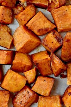 These Brown Sugar Roasted Sweet Potatoes are roasted with brown sugar, cinnamon, butter, and a little cayenne for a kick. The perfect side dish recipe.