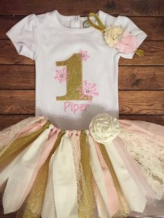 Pink and Gold Winter One-derland Scrap Fabric by ScrapHappyTutus