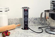 Hidden Pop-up #Outlet – $150 / The first ever power and communications grommet specifically designed for kitchens, laboratories, medical offices; any place liquids could spill. http://thegadgetflow.com/portfolio/hidden-pop-up-outlet-150/