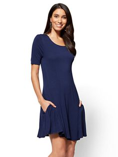 Shop Short-Sleeve Swing Dress . Find your perfect size online at the best price at New York