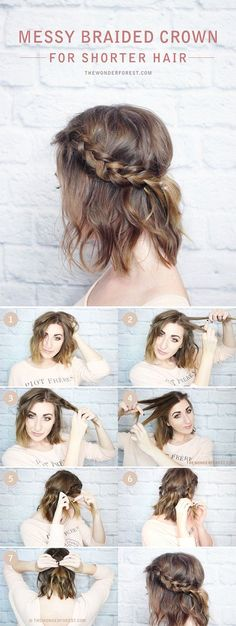 Trenza media corona cabello corto                                                                                                                                                                                 Más #peinadospelocorto