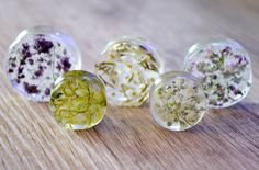 real pressed dried flower plugs resin Gauges double flare plug