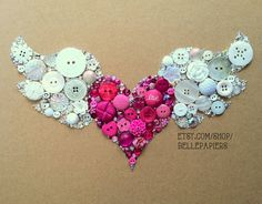 Button Art Flying Heart Winged Heart! Button & Swarovski Crystals (for Sophie?)