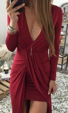 wrap red dress.