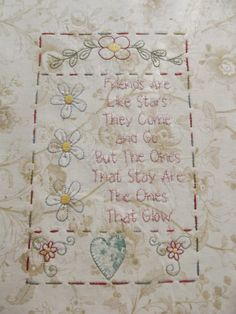 hand embroidery patterns The Friendship Quilt - Block 3 Hand Embroidery Patterns, Embroidery Applique, Cross Stitch Embroidery, Quilt Patterns, Quilting Projects, Quilting Designs, Sewing Projects, Quilting Ideas, Primitive Embroidery