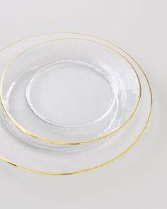 home decor & kitchen interior design - ShopStyle: Neiman Marcus Four White-Gold Rimmed Dinner Plates