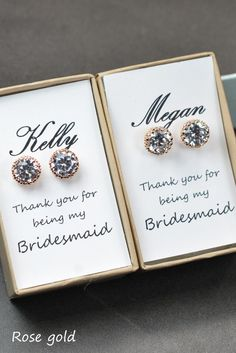 Bridesmaids EarringsPersonalized Bridesmaids by ThePeachMambo