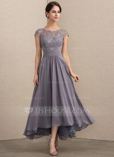 3e3033042a09b9 [€ 137.00] Vestidos princesa/ Formato A Decote redondo Assimétrico Tecido  de seda Renda