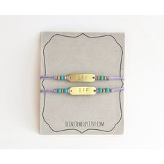 Set of friendship bracelets with beads, hand stamped BFF bracelet set... ($21) ❤ liked on Polyvore featuring jewelry, bracelets, beaded bangles, bracelet bangle, turquoise bead bracelet, beads jewellery and bracelet sets