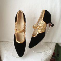 Gold Leather and Black Silk Velvet c1920's Shoes Size I .Miller & Sons . Flapper Fashion . Vintage Dance Shoes . by AllSortsofWonderfull on Etsy