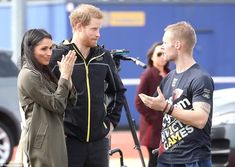 Meghan and Harry with Australian athlete Mark Ormrod (right) at the UK team trials for the Invictus Games Sydney 2018