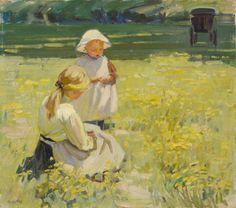 Helen McNicoll, Buttercups, c. 1910, oil on canvas, 40.7 x 46.1 cm, National Gallery of Canada, Ottawa. #ArtCanInstitute #CanadianArt