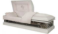 8033 - 18 Gauge Steel Casket White, mirrored sides, Pink Velvet