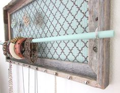 Jewelry Organizer Barnwood Jewelry Holder Soft Tiffany Blue and Chocolate Brown Nailhead Necklace Hooks on Etsy, $65.95