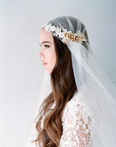 A stunning Juliet cap veil with handmade lace details. The cap has lace flower embellishment and is adorned with brass flowers studded with Swarovski crystals and Swarovski pearl sprays. Wedding Hair Flowers, Wedding Veils, Lace Flowers, Bridal Veils, Wedding Songs, Metal Flowers, Juliet Cap Veil, Fingertip Veil, Lace Veils