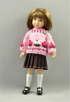 Heartstring Doll's Strawberry Cupcake Sweater & Skirt Set created by Jo's Doll Shoppe.