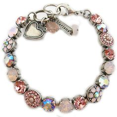 Mariana Silver Plated PINK ROSEWATER AB Flowers Swarovski Crystal Bracelet 223 #Mariana