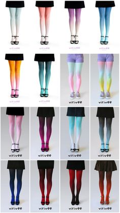 Ombre tights by virivee i love the dark red down to black, the black down to blue and the dark purple that goes down into a lighter purple <3