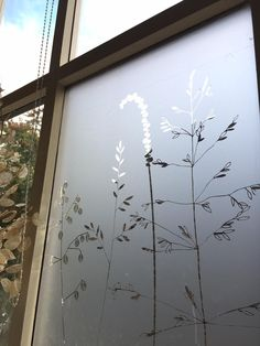 Window film is something I& been dreaming about cooking up for some time. My designs are all about the silhouette aren& they and as . Window Shadow, Window Film, Glass Design, My Design, Window Dressings, West Yorkshire, Glass Door, Lighting Design, Wild Flowers