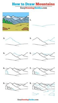 Learn How to Draw Mountains: Easy Step-by-Step Drawing Tutorial for Kids and Beginners. #Mountain #drawingtutorial #easydrawing See the full tutorial at https://easydrawingguides.com/how-to-draw-mountains-really-easy-drawing-tutorial/.