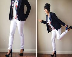 Look 1: white jeans with blue blazer with fake vest attachment, cashmere jersey from