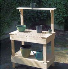 65 DIY Potting Bench Plans (Completely Free) – Welcome My World Potting Bench Plans, Potting Tables, Pallet Garden Benches, Small Backyard Gardens, Small Backyards, Backyard Landscaping, Front Garden Landscape, Building Raised Garden Beds, Woodworking Furniture