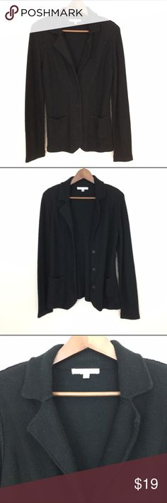 """Cabi 3 Snap Button Cardigan, Sweater, Black, M Pre-owned in great condition.  Stored in a smoke and pet free house.  Look is flexible, can be a blazer or sweater. There is a thin shoulder pad which can be cut off if not wanted. Has 3 snap buttons for closure. 2 Frontal square pockets. Fabric is 57% cotton, 23% viscose, 20% nylon. Hand wash.  Size Medium Waist laid flat 17"""" Length 27"""" Approximately only. CAbi Sweaters Cardigans"""