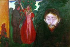 Jealousy made in 1895 by Edvard Munch is a narrative based painting that tells the story about a love triangle involving Munch #FeelingsByMunch #painting #OilOnCanvas