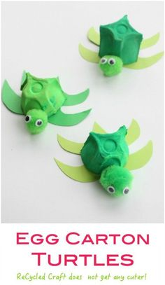 Carton Turtle - a cute recycled craft activity for children. Egg Carton Turtle - a cute recycled craft activity for children. Egg Carton Turtle - a cute recycled craft activity for children. Recycling For Kids, Diy For Kids, Arts And Crafts For Kids Easy, Easy Toddler Crafts, Craft Activities For Kids, Preschool Crafts, Summer Activities, Family Activities, Beach Crafts For Kids
