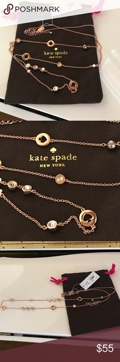 "Kate Spade Spot The Spade Long Necklace♦️ Kate Spade Spot The Spade Long NecklaceNEW With Tags, please consider this when making offers! . Beautiful necklace in rose gold With punched Spade and bling. Matching Bangle listed separately. Adjustable from 32""-36"" long. NO TRADES! kate spade Jewelry Necklaces"